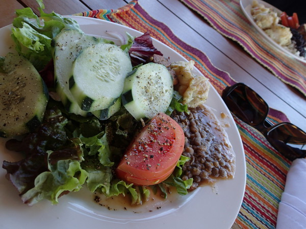 Salad, broiled sea bass and lentils.  The food was excellent for a buffet at Rio Perdido