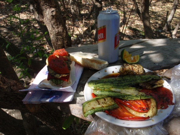 Picnic - grilled peppers, zucchini, eggplant and marinated tomato sandwiches - lunch from the cooler Playa Zapotal