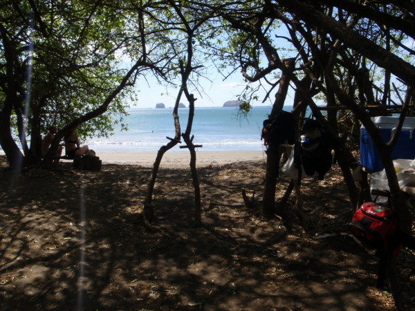 Picnic under the trees on deserted Playa Zapotal