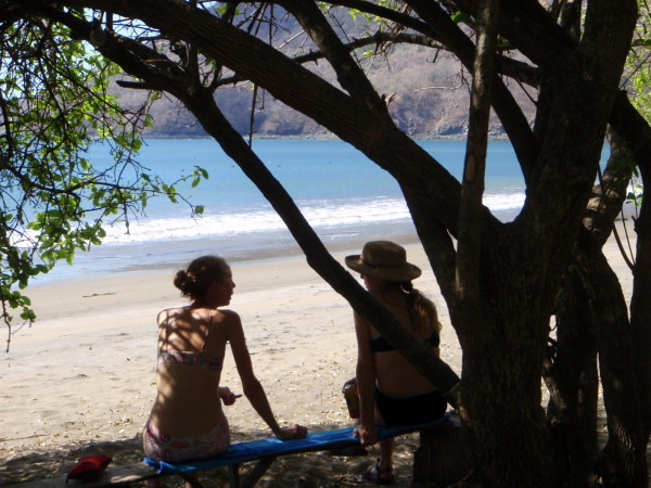 Lunch in the shade on Playa Zapotal
