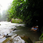 In the natural hot springs in the rain - alongside the Rio Celeste in Volcan Tenorio National Park