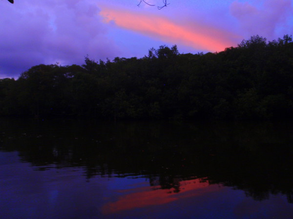 Sunset reflected in Estero Javilla between playas Coyote and San Miguel