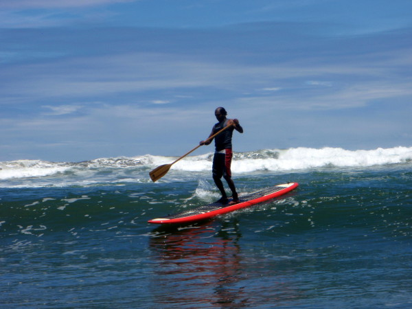Trying out a new Stand Up Paddle Board (SUP) in the surf