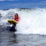 Sue boogie boarding on Playa San Miguel central Nicoya coast