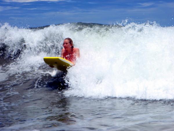 Sue boogie boarding on Playa San Miguel central Nicoya coast