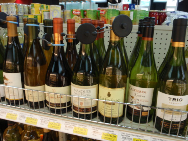 Anti-theft tags on $15 bottle of wine