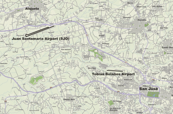 Map showing the location of the two airports serving San Jose Costa Rica