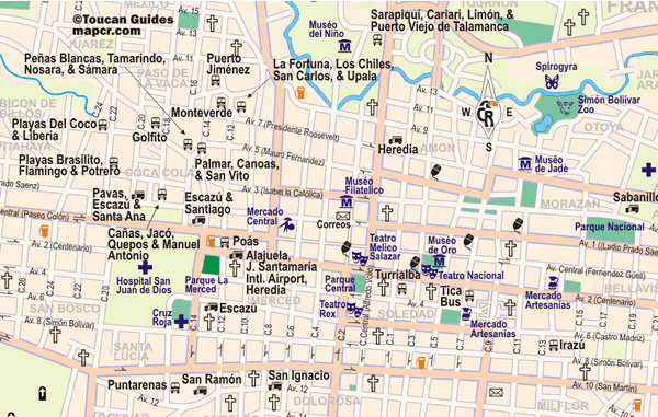 Map of the location of bus terminals in San Jose Costa Rica