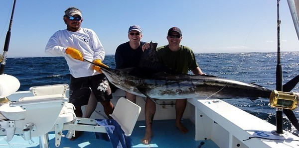 Justin and Gerry on a Pacific sailfishing charter