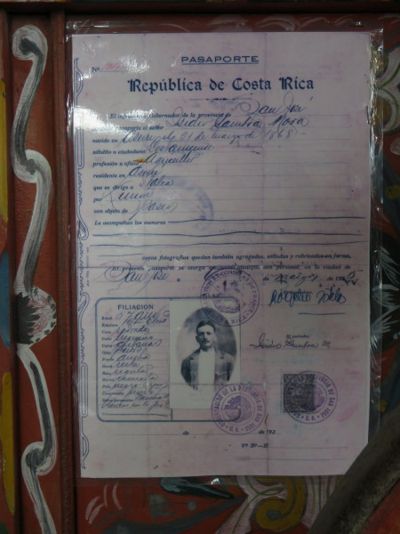 Costa Rican passport from 1925