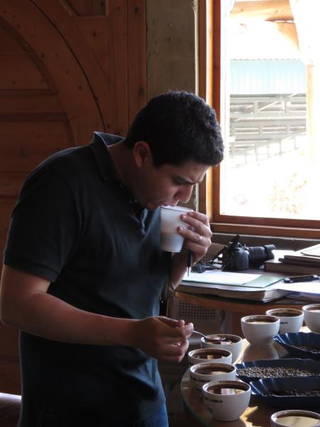 Spitting coffee