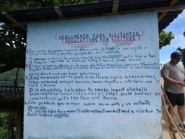 Bijagual waterfall trail rules