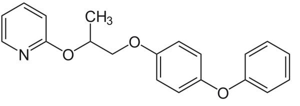 Pyriproxyfen is a hormonal growth inhibitor - chemical structure