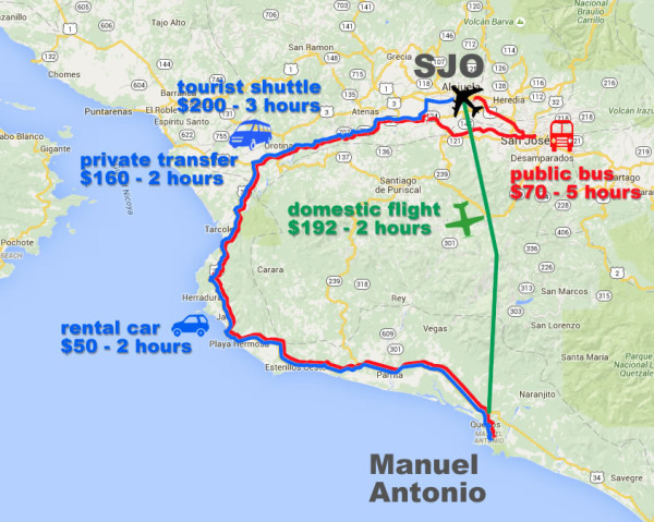 Map comparing transportation costs from San Jose to Manuel Antonio Costa Rica