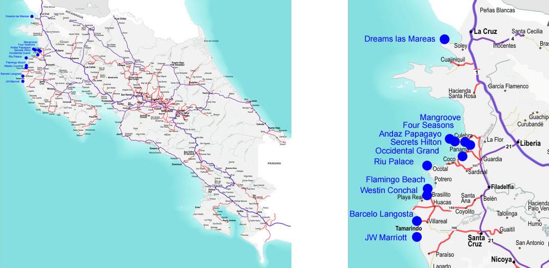 CostaRicaAIResortMap - Us map of costa rica