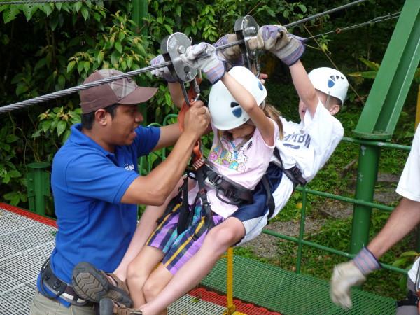 two kids Tandem zip-line