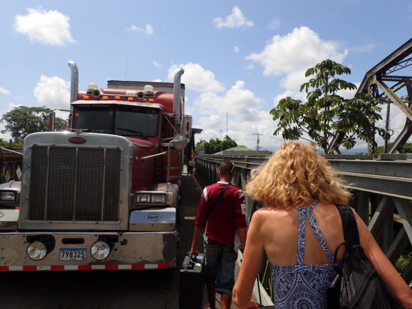 Squeeze past the truck on the Panama border