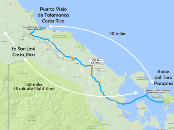 Puerto Viejo to Bocas Border Run Map