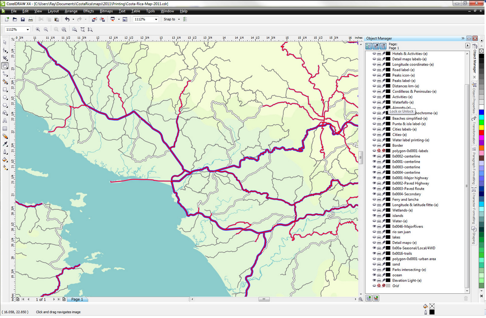 Making a map of costa rica the dxf files are imported into a vector drawing program called corel draw where we assign different colors and line widths to each layer based on the road gumiabroncs Image collections