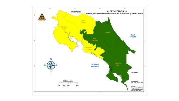 Yellow alert flooding and landslides Costa Rica National Emergency Commission