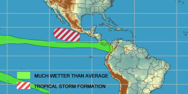 Costa Rica weather prediction map 20190625