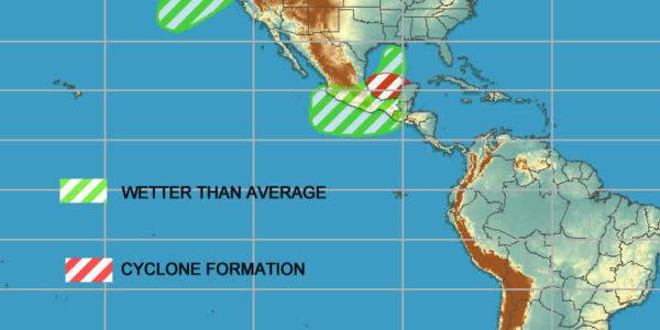 NOAA tropical storm and precipitation map costa rica October 2019