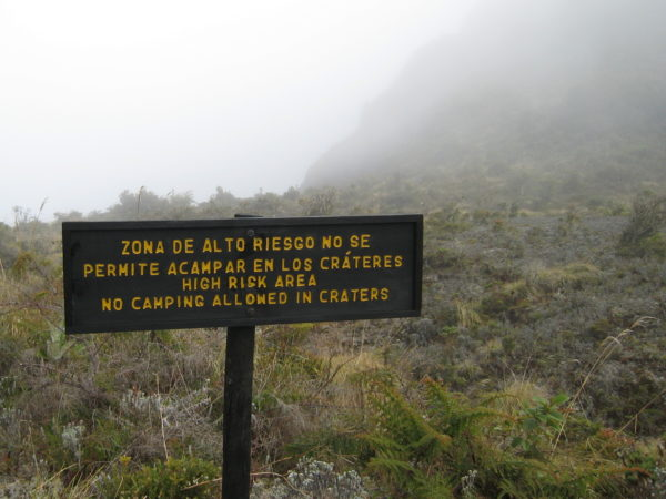 no camping inside the active volcano