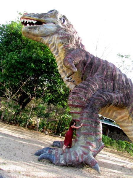 Hugging a dinosaur