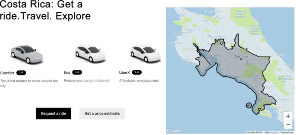 Uber official coverage area map for Costa Rica