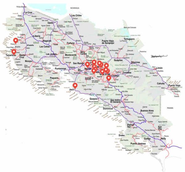 Costa Rica Map mini storage locations