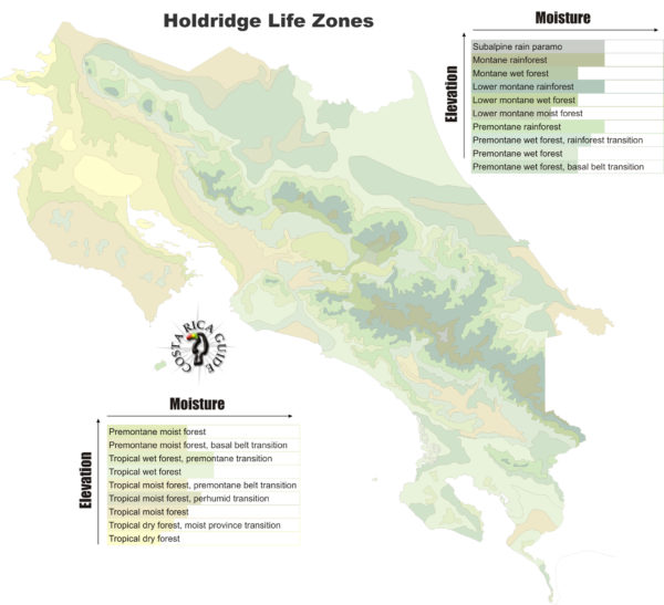 Holdridge Life Zones Map of Costa Rica's Micro Climates