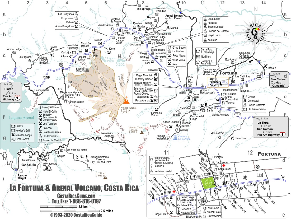 arenal costa rica map Arenal Volcano La Fortuna Map Free Printable Download arenal costa rica map