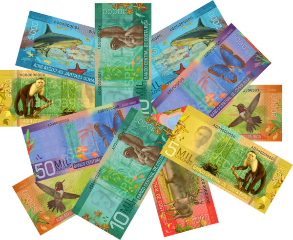 Costa Rican colón notes feature wildlife and nature