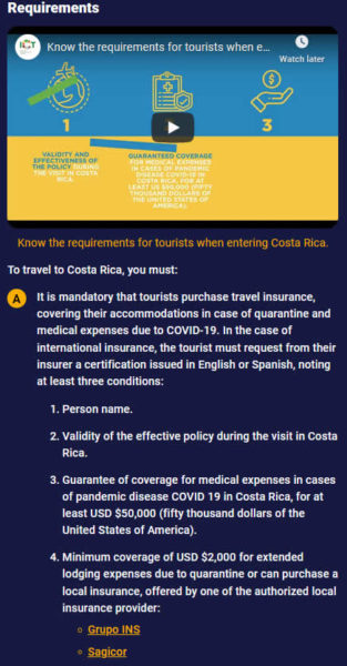 Requirements for Costa Rica's Health Pass/Pase de Salud/QR code