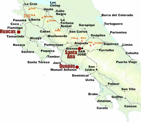 map of locations of Covid 19 test centers in Costa Rica